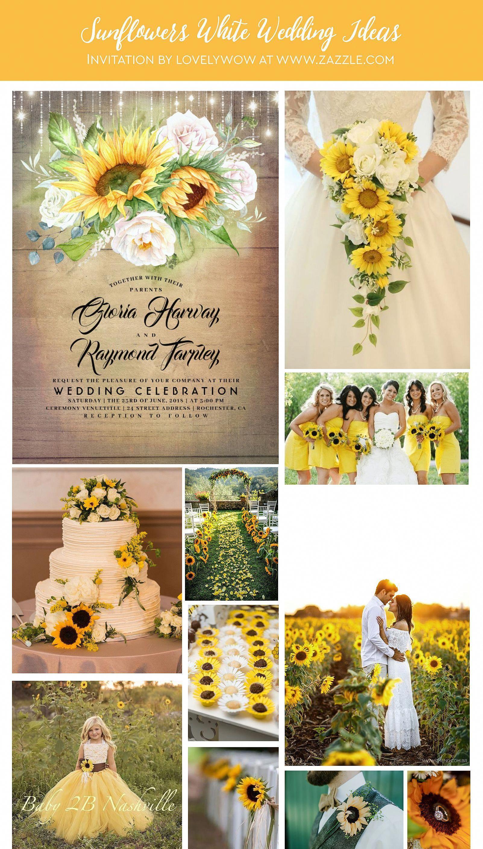White Rose and Sunflower Rustic Fall Wedding Invitation | Zazzle.com