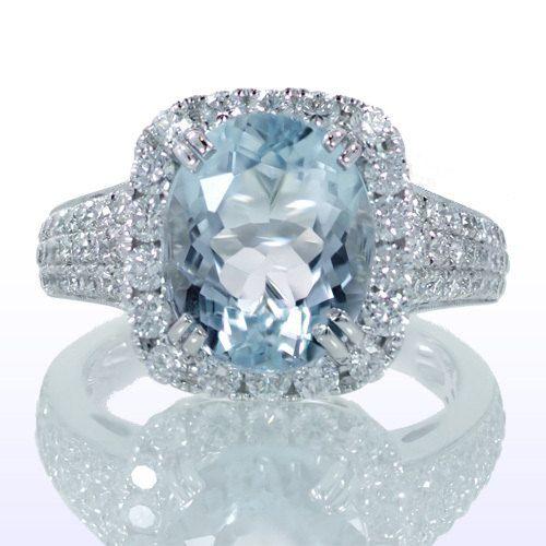 Oval Cut Aquamarine Set In Cushion Diamond Halo Engagement Ring Wedding Something Blue Gift