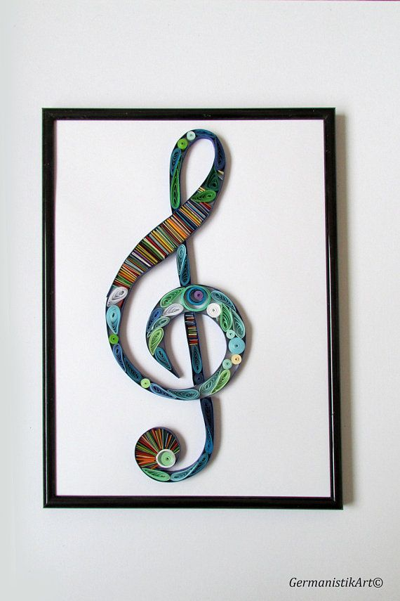 Treble Clef Wall Art, Quilling treble clef, Music Wall Art, Music ...