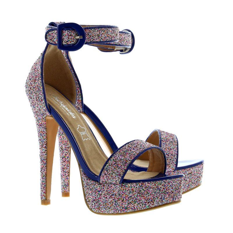 Sandales de couleur blanche, bleue et rose pailletée NINA BLUE Hauteur du  talon 14 cm