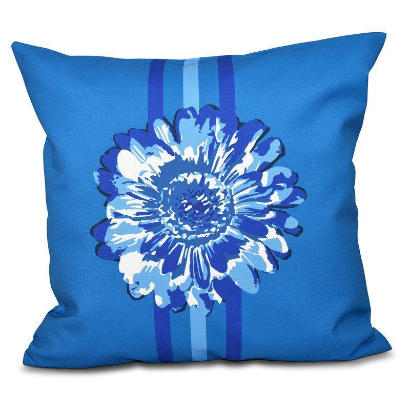 E by Design Happy Hippy Flower Child 2 Decorative Pillow Blue - PFN555BL7BL20-18