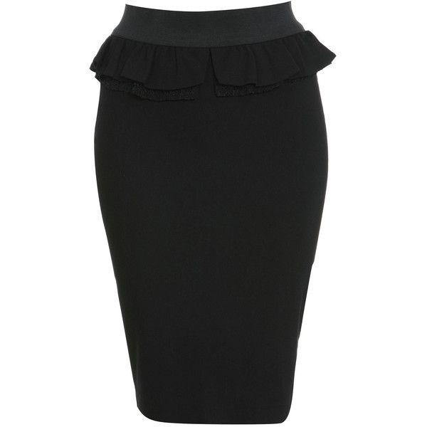 Miss Selfridge Lace Detail Peplum Skirt ($21) ❤ liked on Polyvore featuring skirts, black, rayon skirt, peplum skirt and miss selfridge