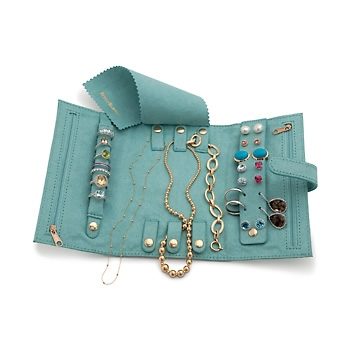 Reed Barton Ocean Blue Faux Suede TriFold Travel Jewelry Clutch