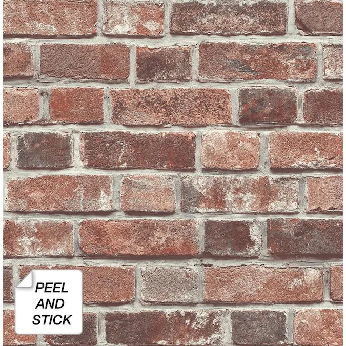 Nextwall 30 75 Sq Ft Red Vinyl Brick Self Adhesive Peel And Stick Wallpaper Lowes Com In 2020 Red Brick Wallpaper Brick Wallpaper Peel And Stick Brick Wallpaper