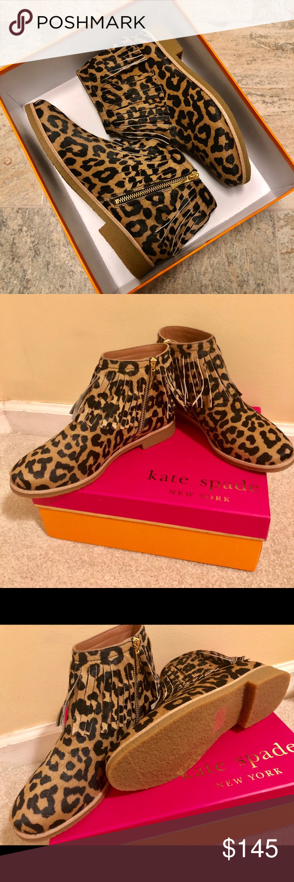 952adc82d868 Kate Spade Bettie Too Fringe Bootie Bohemian chic ankle booties crafted  from glamorous leopard print calf