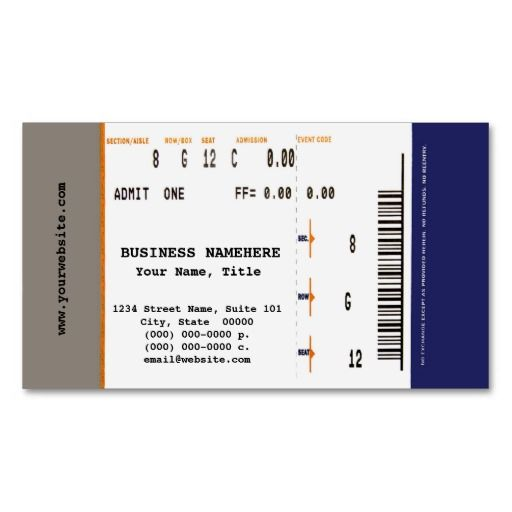Concert Ticket Business Card Music Themed Business Cards - concert ticket layout