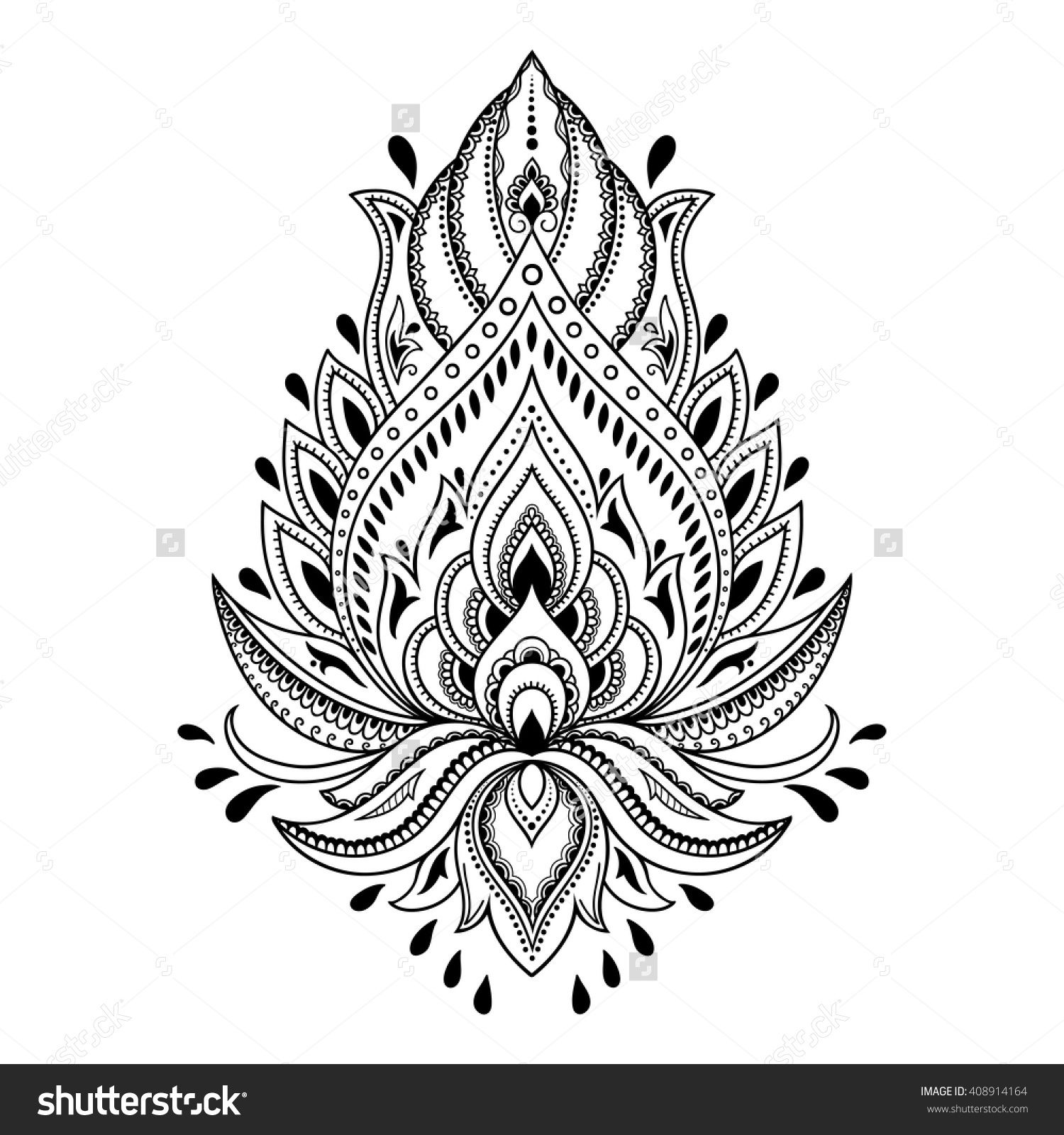 henna flower template in indian style ethnic