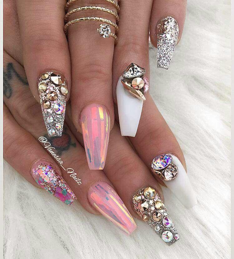cristales uas bonitas espejos purpurina uas elegantes maquillaje uas hermosas uas fabulosas artes del clavo