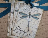 Dragonfly Tags - Vintage Dragonfly - Cherish,  Teal - Set of 6