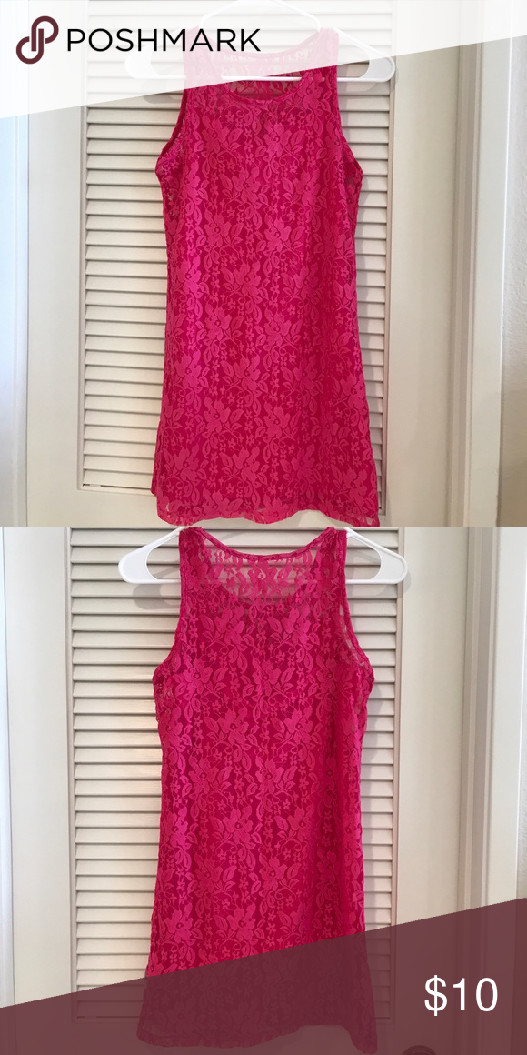 Dkny Girls Lace Sheath Dress Hot Pink Lace Dress With A