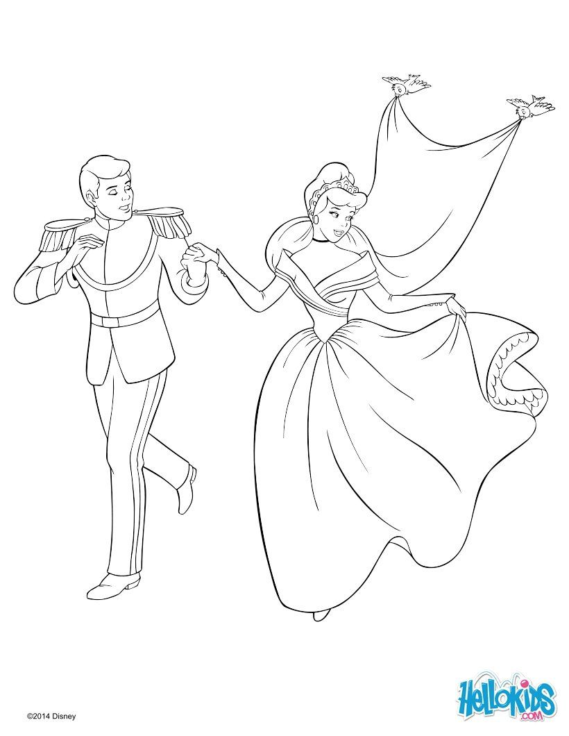 Cinderella and the Prince coloring page for the kids | Princeses ...