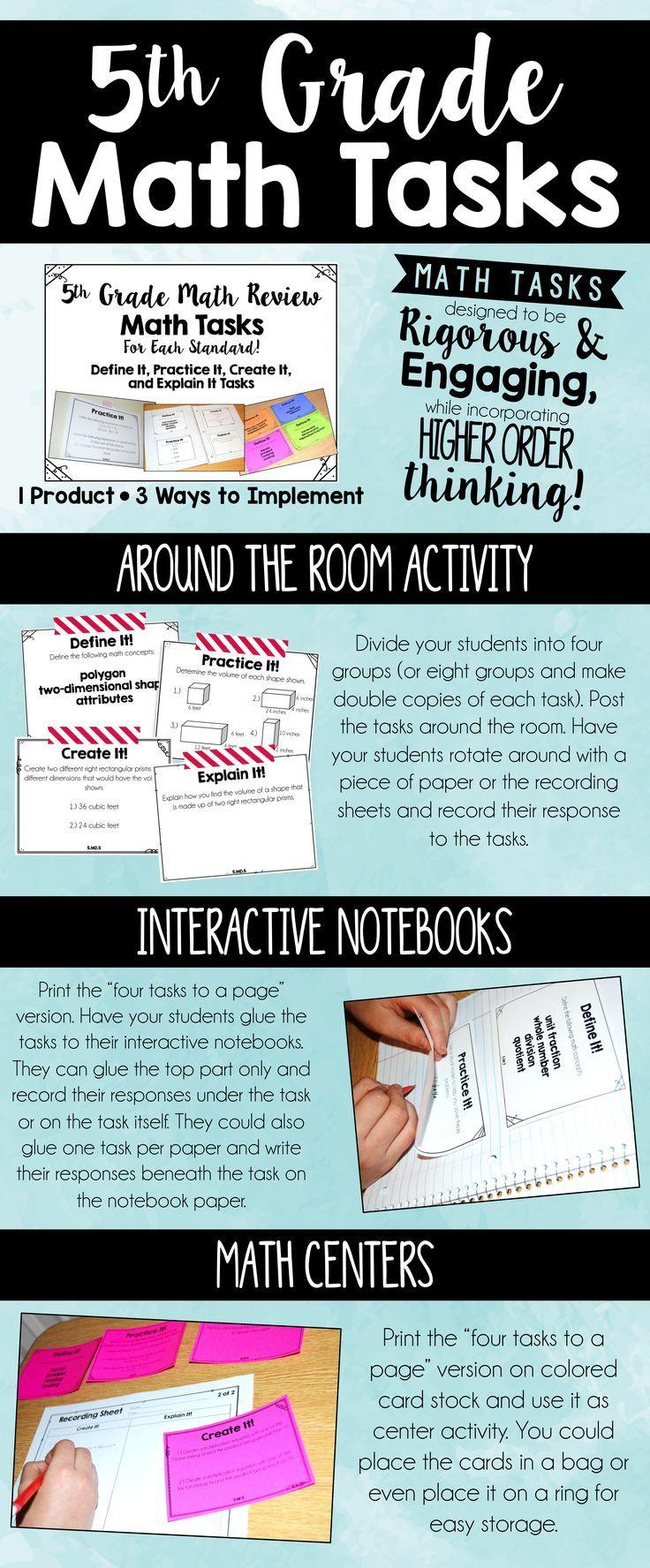 5th Grade Math Review Tasks | 5th Grade Math | Pinterest | Common ...