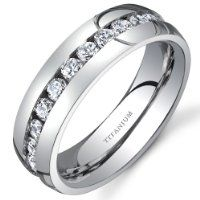Revoni Titanium Womens 6 Mm Eternity Band With Cubic Zirconia Available by Revoni