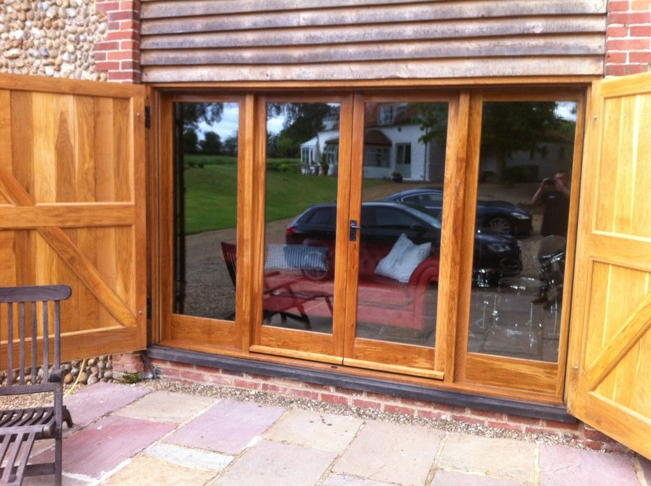 Exterior Brown Teak Wood Frame Sliding Patio Glass Door Combination