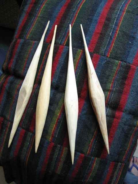 The shape varies, but the important bits are a pointy tip for supported spinning, a very narrow, tapered upper end for flicking between the fingers, and a nice, substantial bulge with a low center of gravity, to give momentum to the spin. Among the four shown above, the two on the right are the best spinners.  Specs: average weight 32g, length 28-30cm