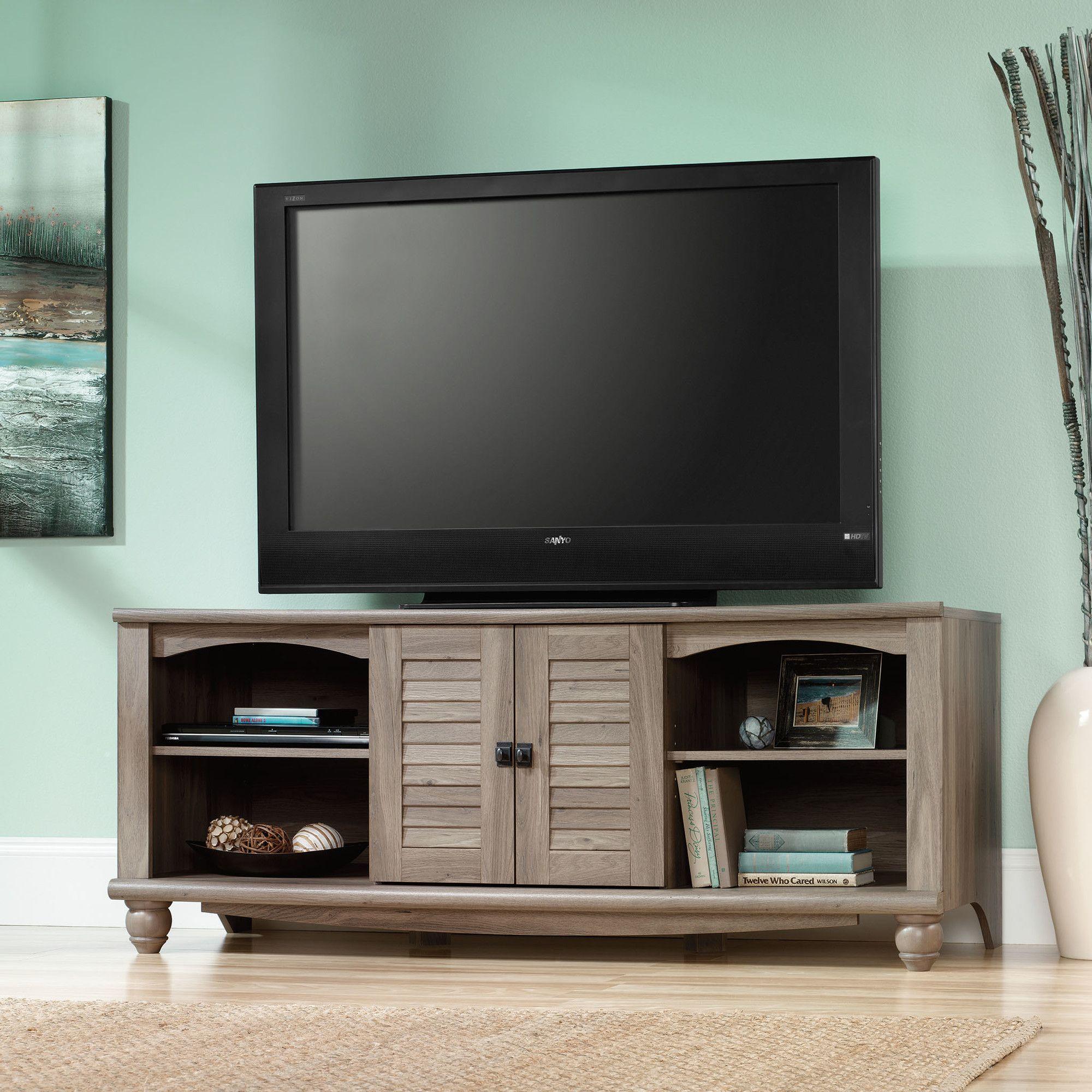 Sauder Harbor View Tv Stand In Salt Oak Reviews Wayfair  # Meuble Tv Wilson