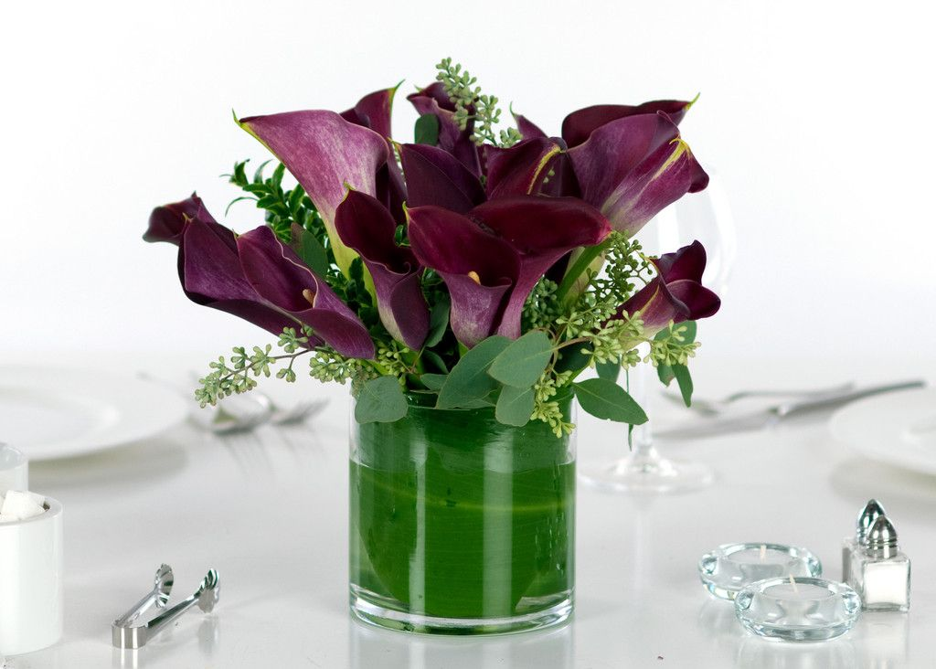 Wedding centerpieces calla lilies purple miniature
