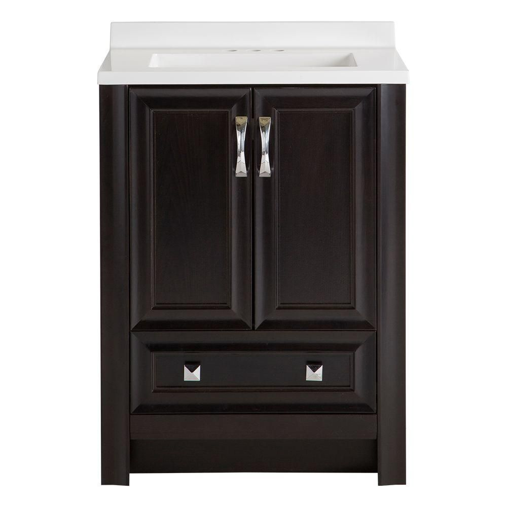 The Awesome Web W x in D Bath Vanity in Charcoal with AB Vanity Top in White