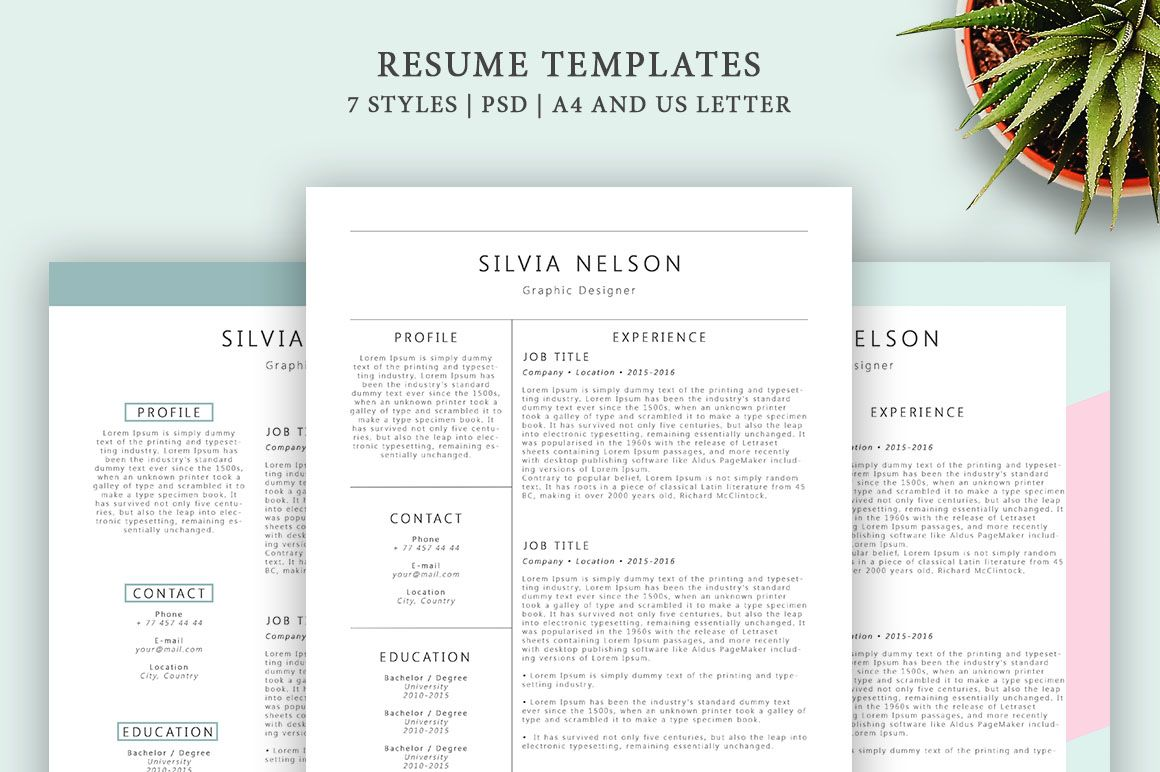 Resume Templates 7 Styles by Blossom on creativemarket