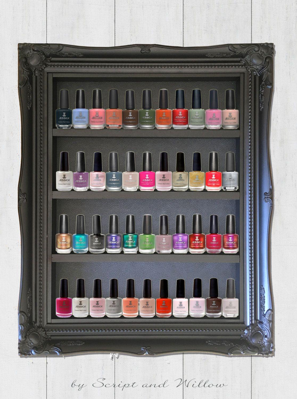 Uncategorized Nail Varnish Organiser stunning black ornate framed nail polish cosmetic organiser solid wood leather effect