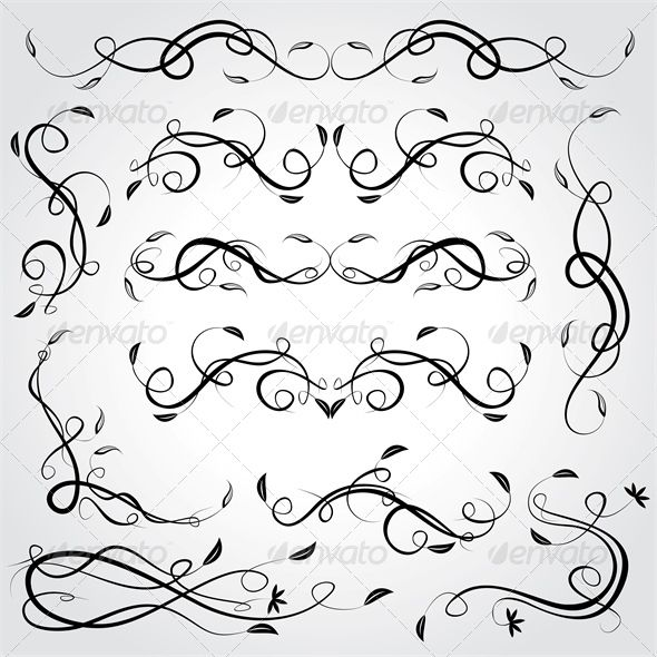 Floral Design Elements #GraphicRiver Vector floral design elements. File – Eps10. Created: 4July13 GraphicsFilesIncluded: VectorEPS Layered: No MinimumAdobeCSVersion: CS Tags: black #book #calligraphic #calligraphy #curl #decor #decoration #decorative #design #elegance #elegant #elements #floral #flower #invitation #line #ornament #ornamental #page #retro #scroll #set #spiral #summer #swirl #typographic #vector #vignette #vintage #wedding
