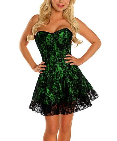 loving this green lace sweetheart corset dress  plus too