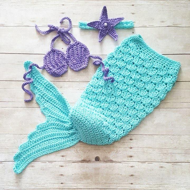 Crochet Pattern Baby Mermaid Set Tail Starfish Headband Shell Bikini