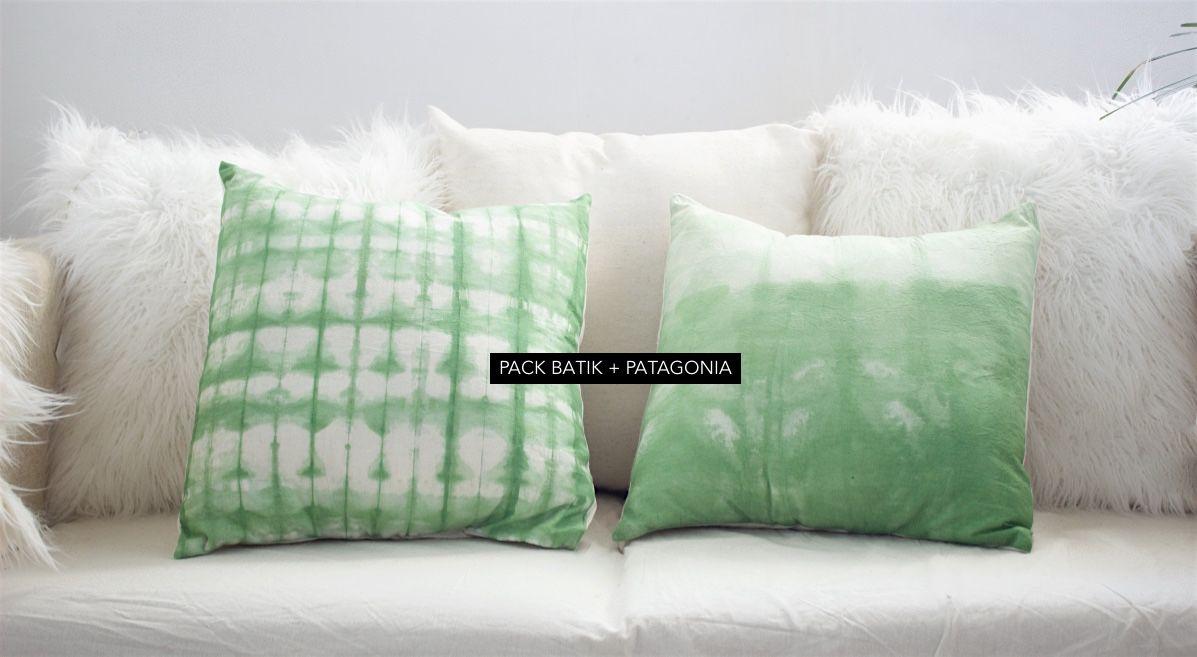 Combinación Fresca - Verde y Blanco Almohadones piel sintetica - Almohadones Batik tecnica shibori. @misshatallerdeco