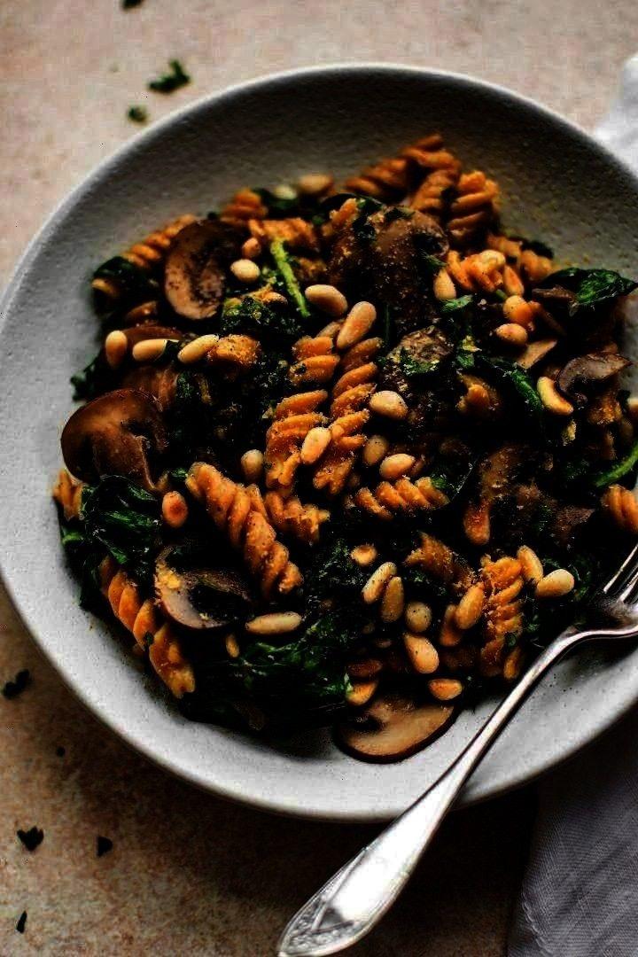 -  Vegan Spinach and Mushroom Pasta Pasta with Spinach and Mushrooms  -Vegan Spinach and Mushroom P