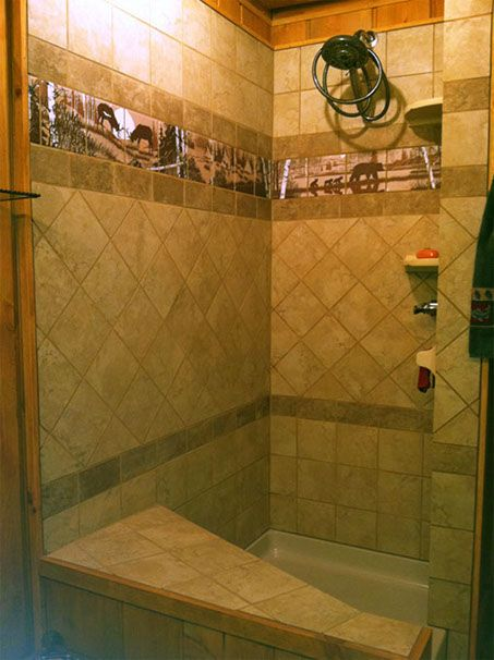 Wildlife ceramic tile shower wrap around | Remodel ideas | Pinterest ...