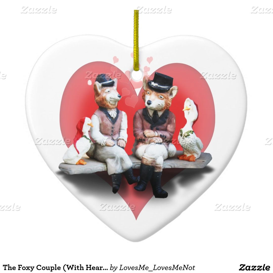 The Foxy Couple (With Heart Background) Double-Sided Heart Ceramic Christmas Ornament