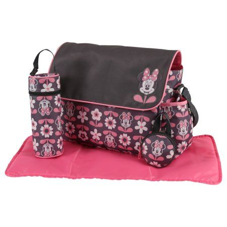 815b4c2b91 Disney Minnie Mouse Multi Piece Diaper Bag with Flap