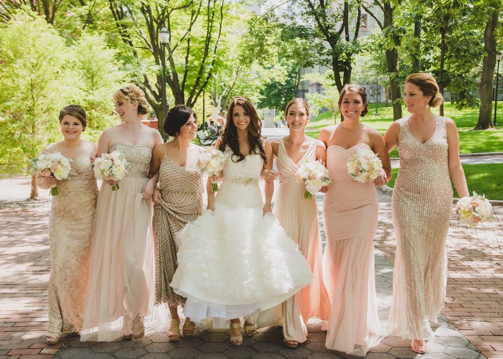Brideside stylist chelsey rose and her bridesmaids blush glamorous philadelphia wedding on the moshulu by diamonds details ombrellifo Image collections