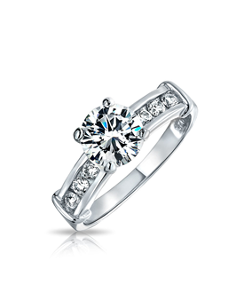 Bling Jewelry Bling Jewelry Sterling Silver Cz Channel Set Engagement Ring