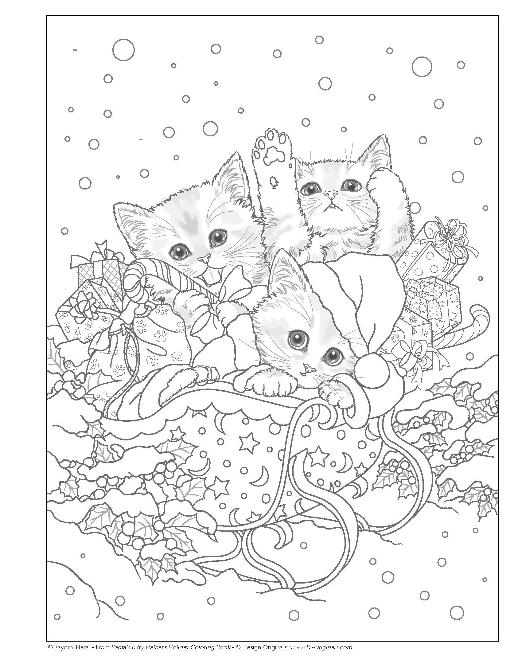 Santa S Kitty Helpers Holiday Coloring Book Design Originals