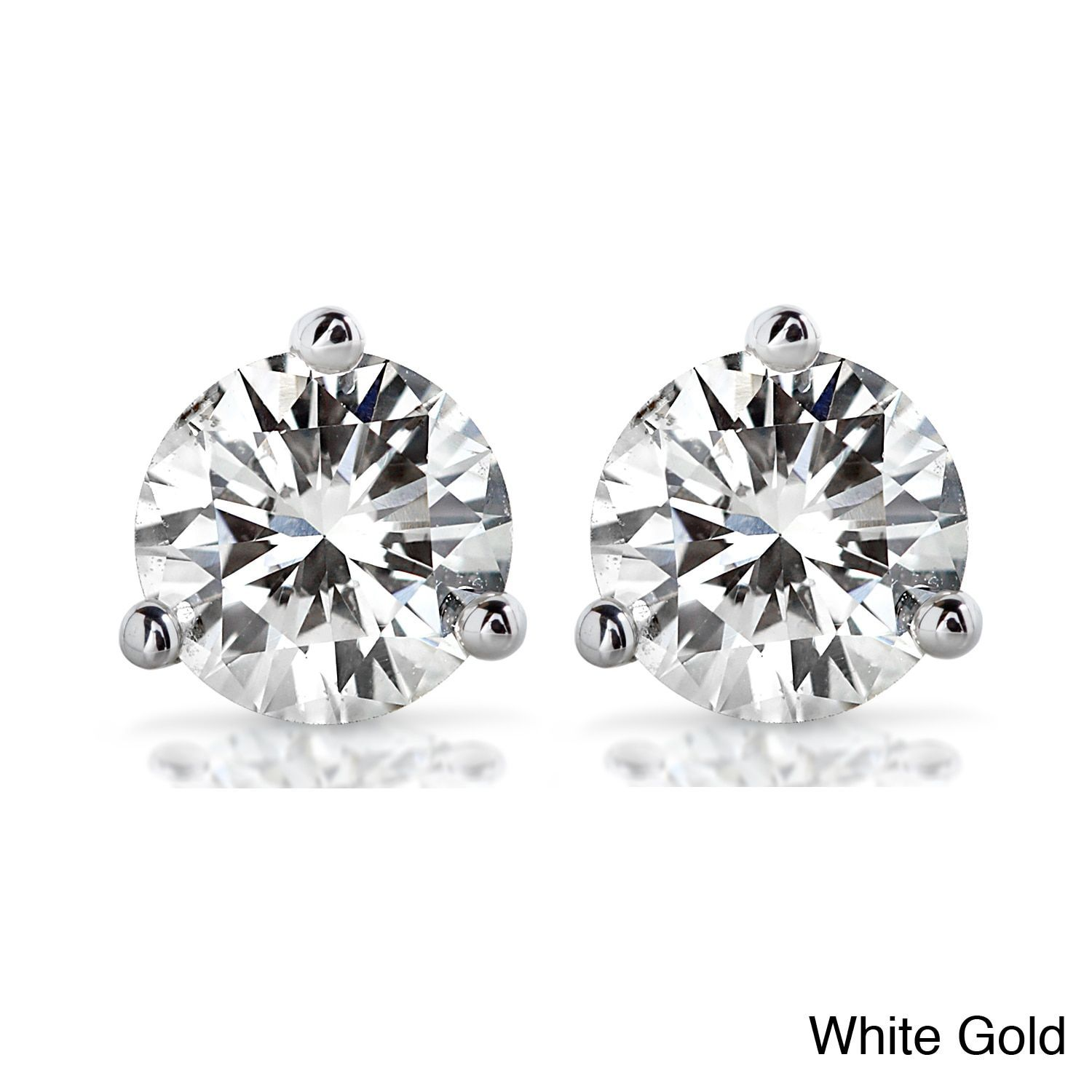 gold moissanite itm earrings cut white brilliant moissanitestud certificate round ct stud