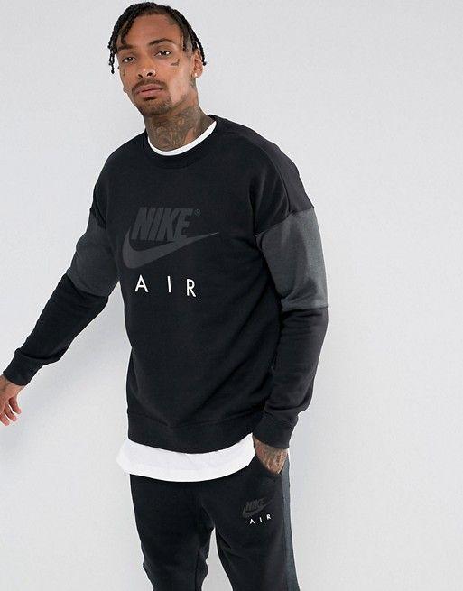 Nike Air Crew Neck Sweatshirt In Black 861622 010 in 2019