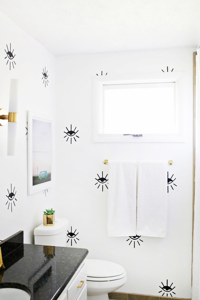 How to de clutter your beauty cabinet kendi everyday - Love This Eye Pattern Statement Wall Click Through For Tutorial