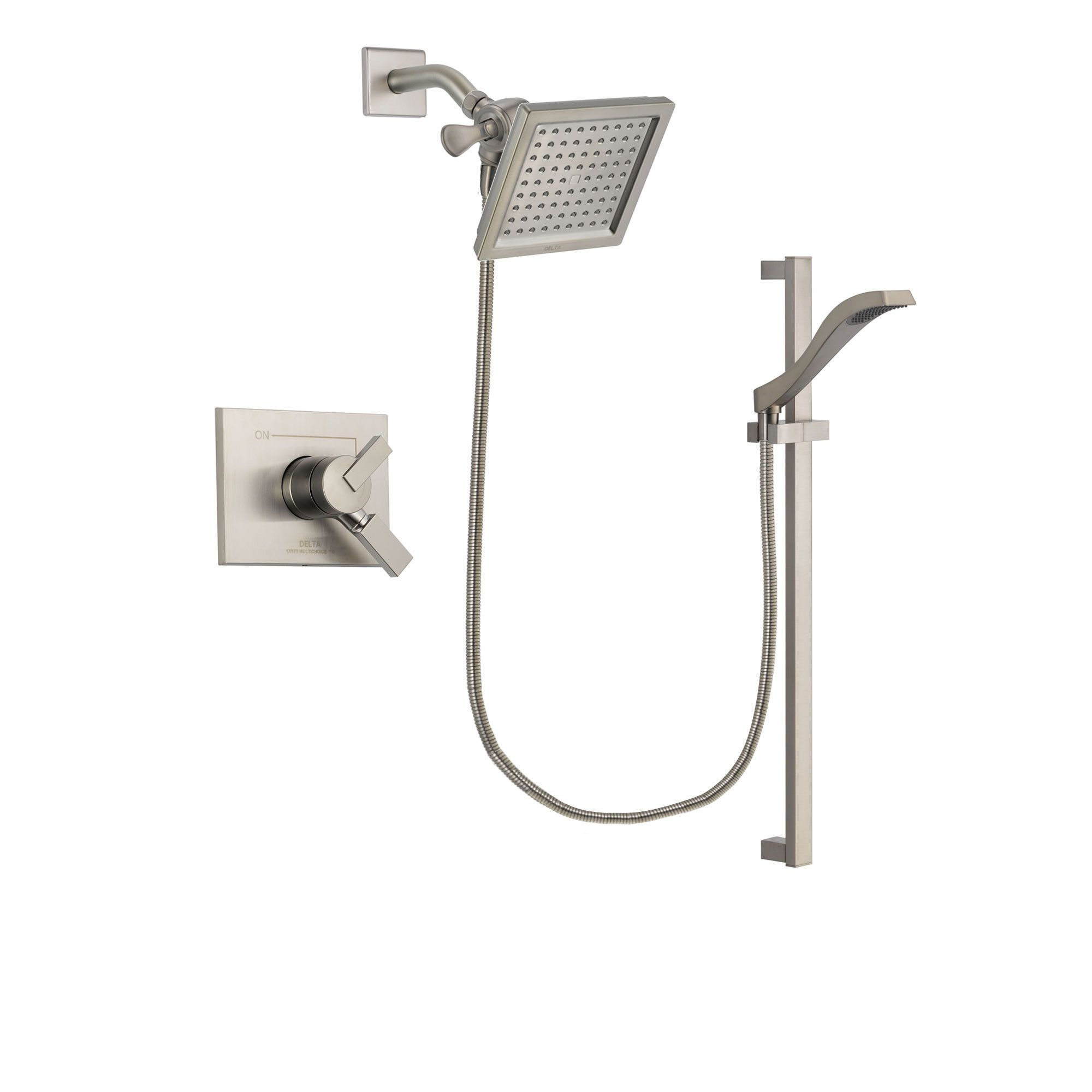 Delta Vero Stainless Steel Finish Shower Faucet System With Hand