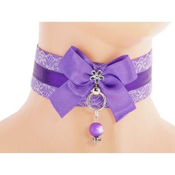 Purple satin lace choker, collar lolita, ddlg, bdsm collar, kitten... ($18) ❤ liked on Polyvore featuring jewelry, necklaces, lace choker, ribbon choker necklace, collar necklaces, purple necklace and ribbon choker