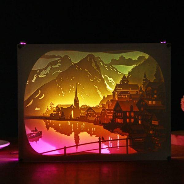 3d Paper Art Lamp 3d Paper Art Shadow Box Art Lightbox Art