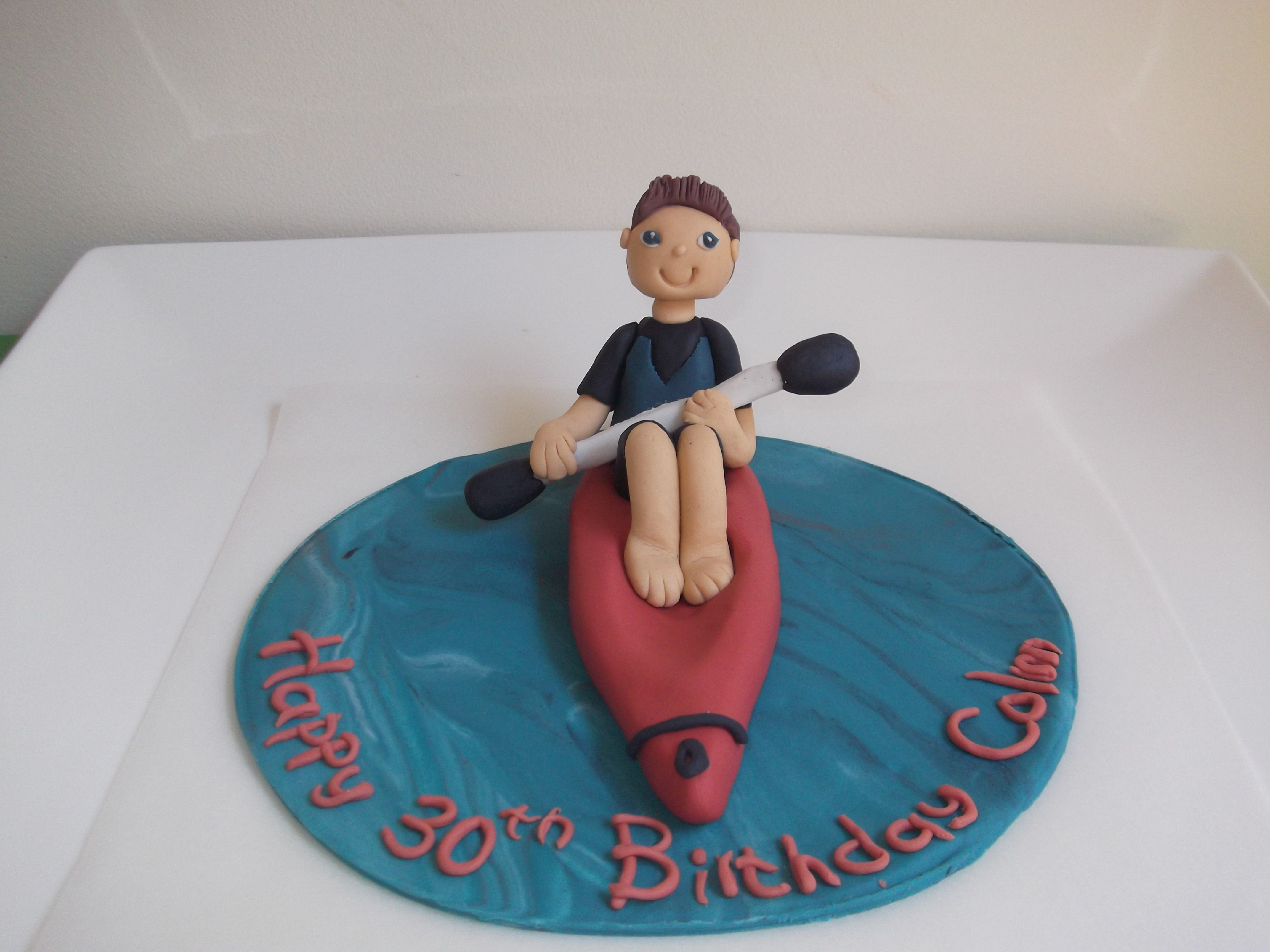 A Figure In A Kayak Cake Topper For A 30th Birthday Party Cake Please Visit Our Facebook Page Cakes And Topper Kayak Cake Lake Birthday Birthday Party Cake