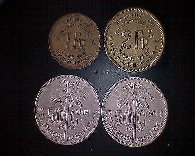 Belgisch Kongo Zaire 4 Alte Münzen 50 C 1 Fr 2 Fr