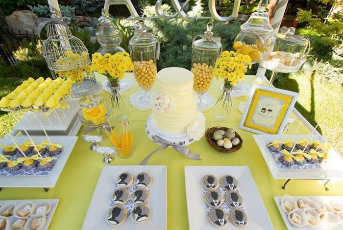 Yellow Grey Gray Garden Wedding Dessert Table Supplies Ideas Party