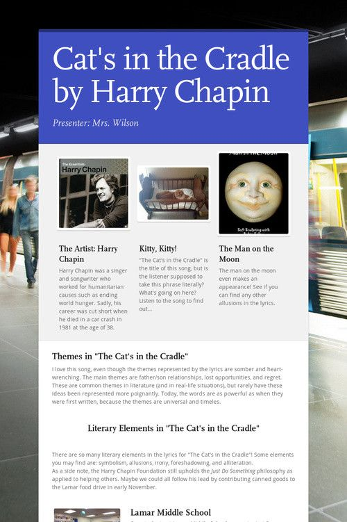 Cat S In The Cradle Harry Chapin Cats Cradle Chapin Cradle