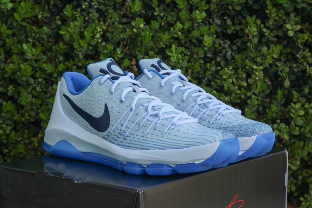 2016-2017 Sale Nike KD 8 VIII White Midnight Navy Photo Blue Yellow Home  New Arrival 2016 ccb4346fd