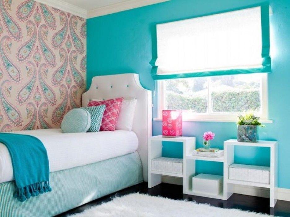 Bedroom. Aqua Blue Bedroom Wall toward Single White Bedding aside ...
