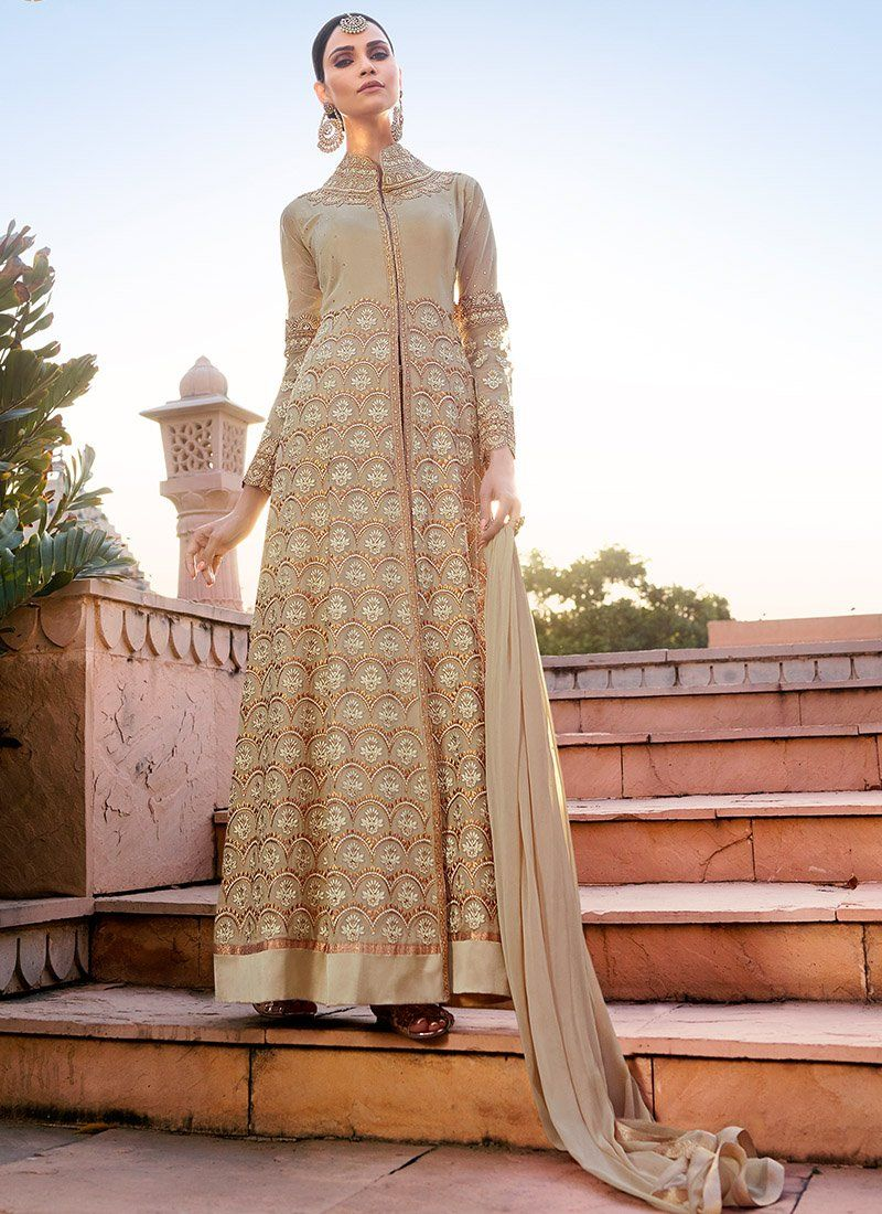 49ce2937f2 Light Beige and Gold Embroidered Pant Style Anarkali Suit in 2019 ...