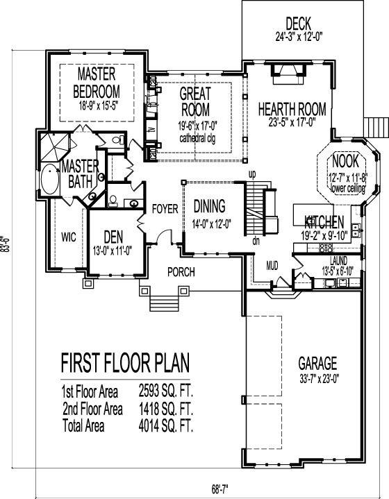 Bungalow 5 Bedroom House Plans 2 Story 5 Bath Basement 4000 Sq Ft Bungalow House Floor Plans Two Story House Plans Bedroom House Plans