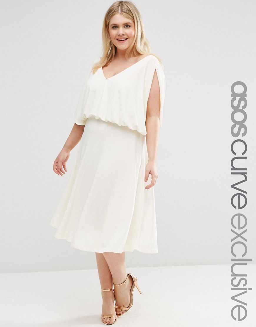 Image  of ASOS CURVE Midi Dress In Crepe With Drape Layer  Sewing